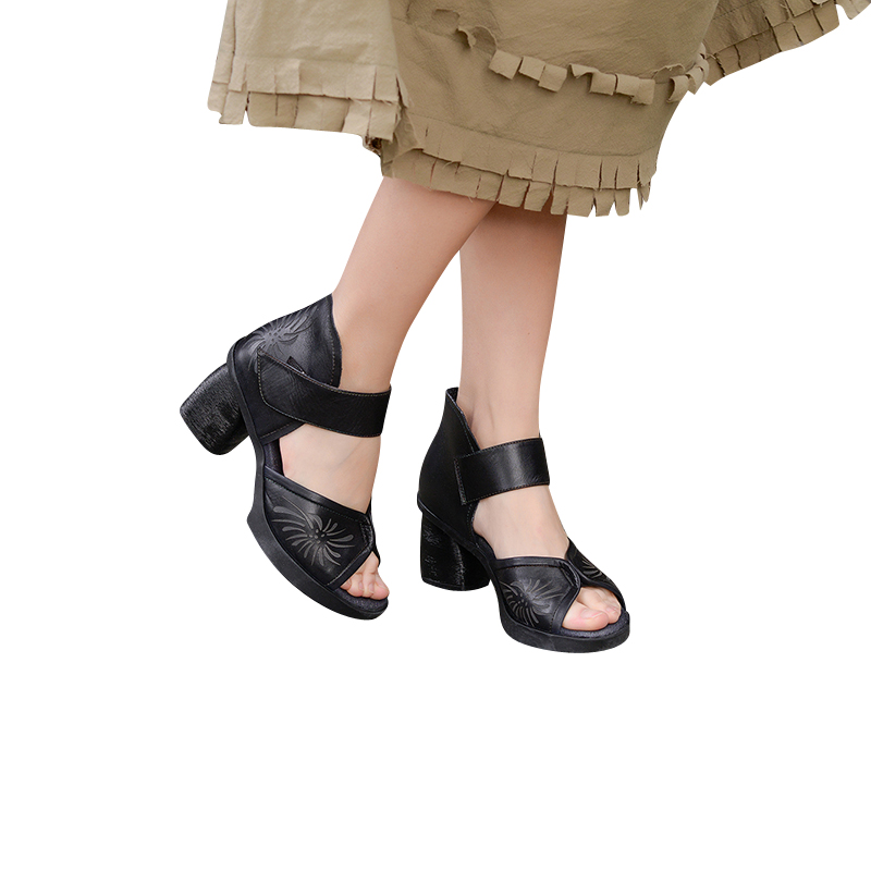 Femmes 2019 Hauts D'été Xiangban Cuir Plate forme À 8627k3 Talons Sandales Noir Chaussures Décontracté Véritable Mode aqXd6q