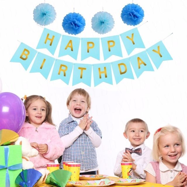 Happy Birthday Decoration Banner Gold Letters With 4 Blue Tissue