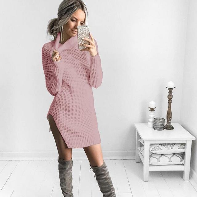 dc0af9a36ba3c9 Jesień Zima Kobiety Sexy Sweter Sukienka Moda Golfem Bodycon Podstawowe  Mini Boczne Rozcięcia Sukienka Z Dzianiny