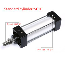 цена на Free shipping Standard cylinder SC50 series bore 25mm to 1000mm Bore Double Acting Pneumatic Cylinderair pneumatic cylinder