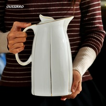 1.6L / 2.5L Ceramic Pitchers Water Bottles Cold Kettle No Explosion Jug Large Capacity Household Thermos