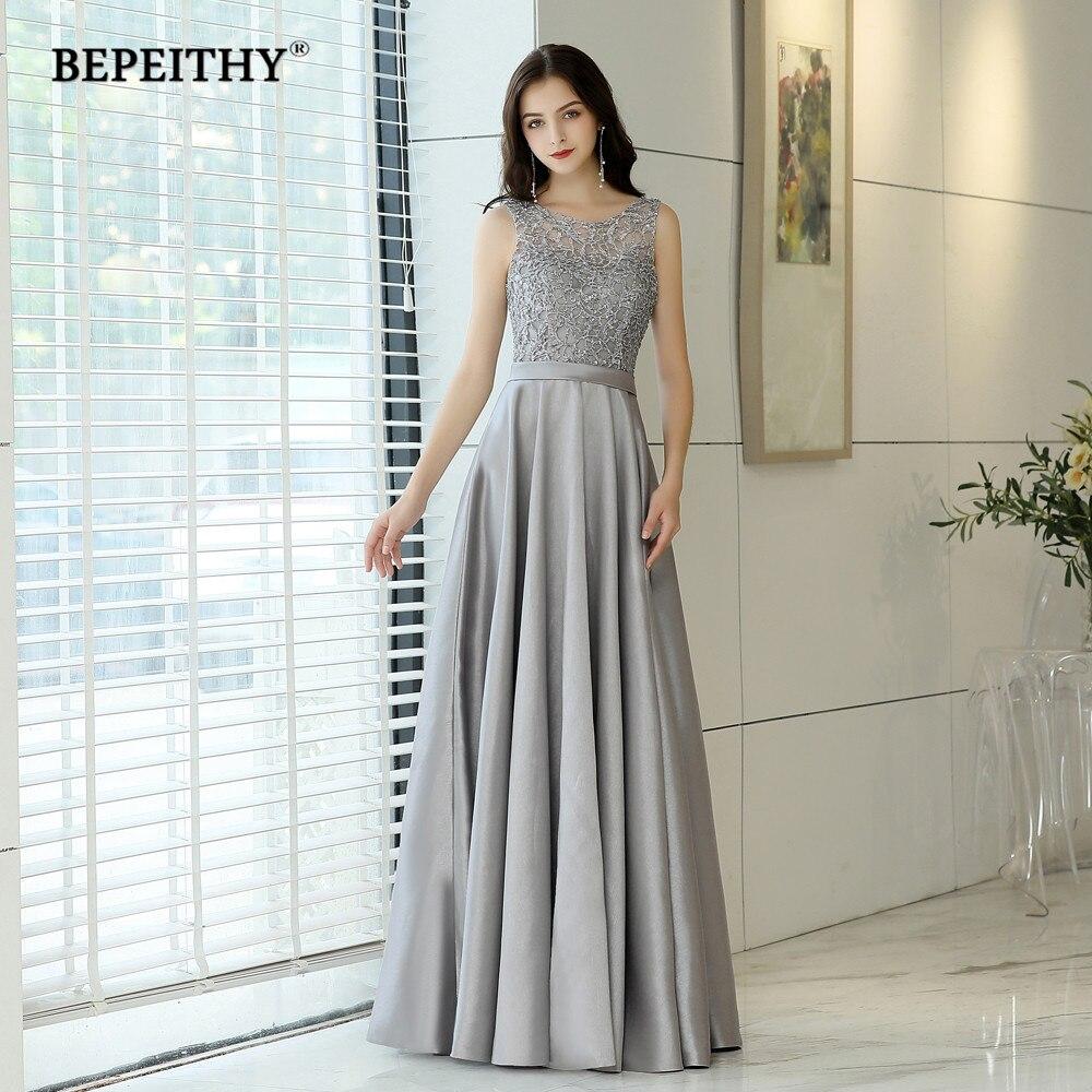 2019 Vestido De Festa O Neck Long   Evening     Dress   Beads Lace Top Reflective   Dress   Cheap Prom   Dress   Long Abendkleider Formal Gown
