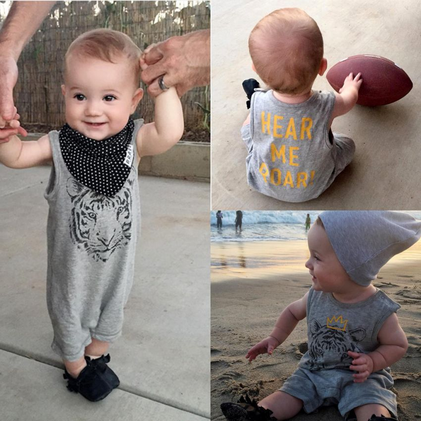 Organic Cotton infant summer baby boys clothes Tiger   Romper   girls casual sleeveless jumpsuit newborn clothing roupa infantil
