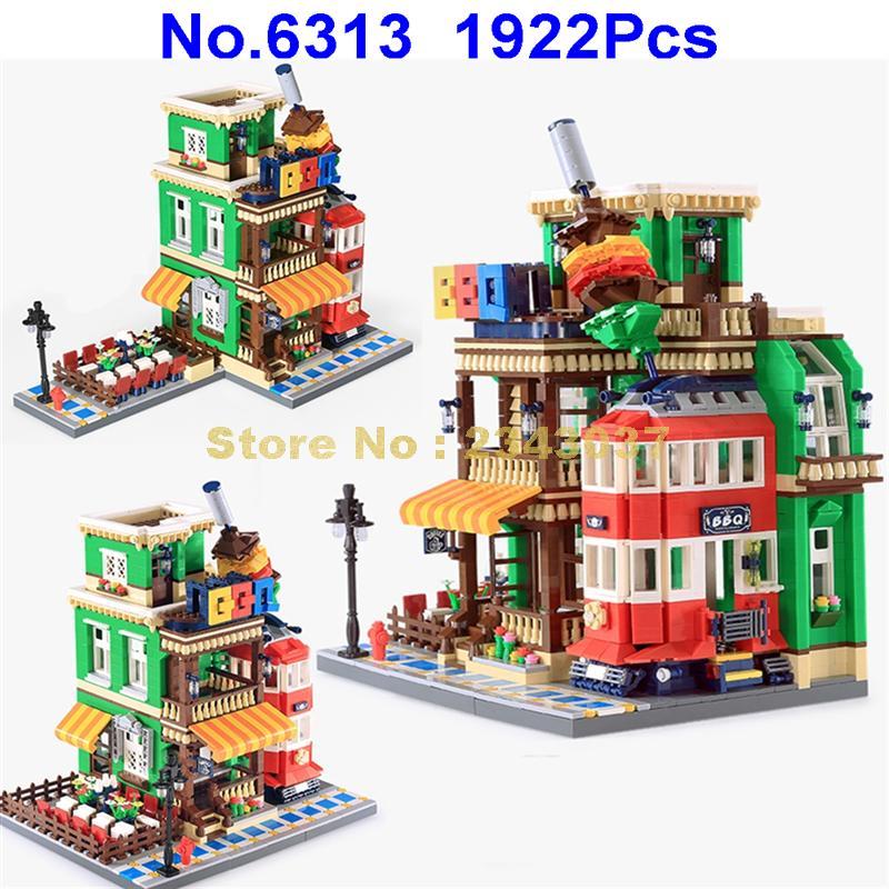 6313, 1922 piezas de arquitectura creador restaurante barbacoa tienda de café tienda de la esquina de bloques de construcción de juguete-in Bloques from Juguetes y pasatiempos    1