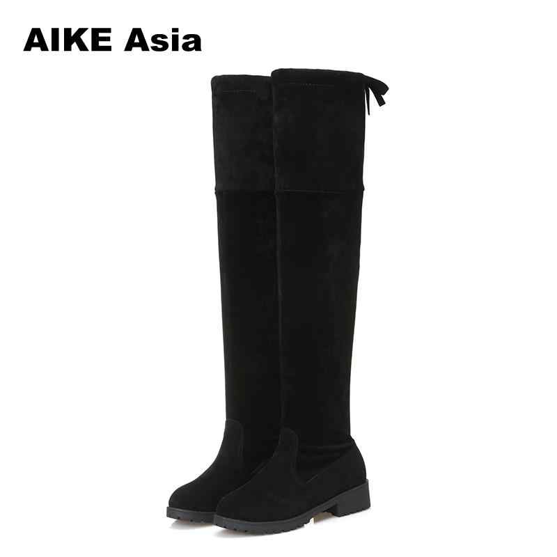 2020 New Hot Women Boots Autumn Winter Ladies Fashion Flat Bottom Boots Shoes Over The Knee Thigh High Suede 1 Long Boots #740