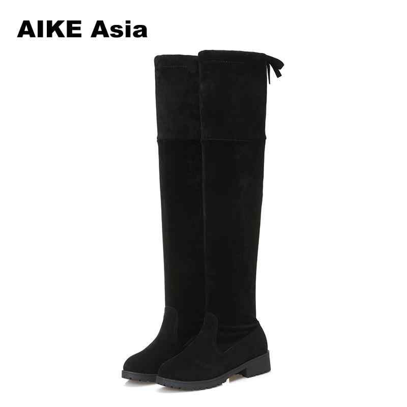 2020 neue Heiße Frauen Stiefel Herbst Winter Damen Mode Flachen Boden Stiefel Schuhe Über Das Knie Oberschenkel Hohe Wildleder 1 lange Stiefel #740