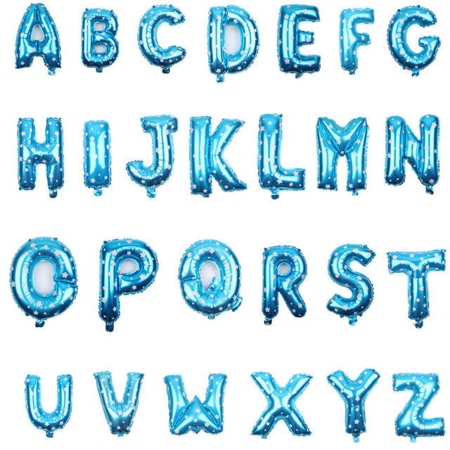 16-inch aluminum small balloon alphabet letter balloons happy birthday  party balloons - Blue