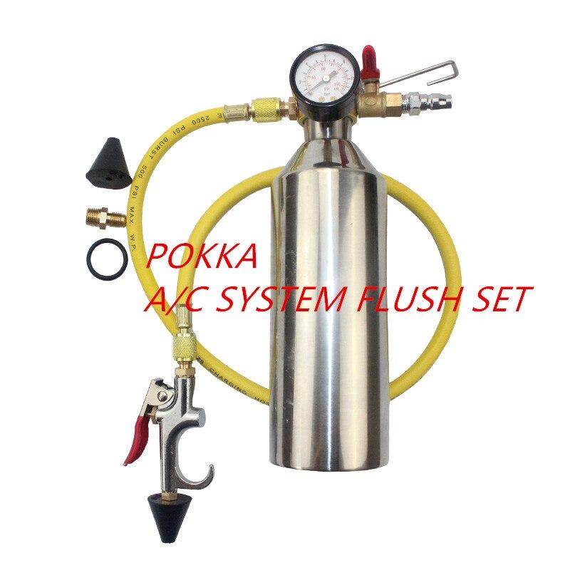 Freies Verschiffen, Automotive klimaanlage reinigung kanister reinigung flasche A/C system flush SET