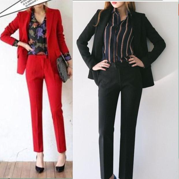 red suit female temperament European and American fashion leisure business attire suits ms small suit cultivate ones morality