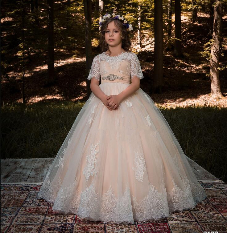 First Communion Dress Lace Appliques Half Sleeves with Bow Ruffle Little Girl Christmas Tulle Ball Gown Flower Girls Dresses green crew neck roll half sleeves mini dress