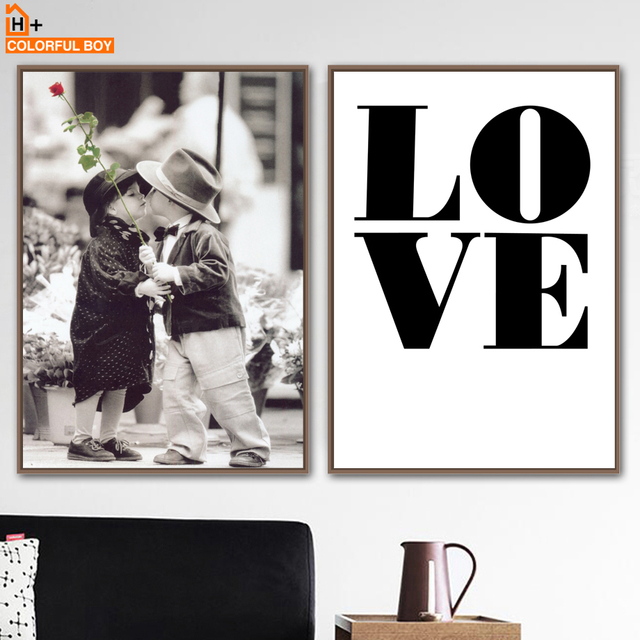 Cute Baby Girl Boy Love Quote Wall Art Canvas Painting Nordic