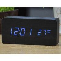Bằng gỗ led alarm clock time nhiệt độ âm thanh kiểm soát ngày led hiển thị điện tử máy tính để bàn kỹ thuật số bảng đồng hồ diy