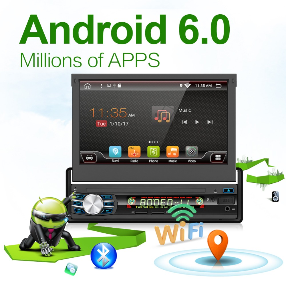 Автомобильный радиоприемник 1 din Android 6,0 Wifi Авторадио Стерео Проигрыватель Универсальный gps навигации выдвижной Экран Bluetooth + Бесплатный каме...