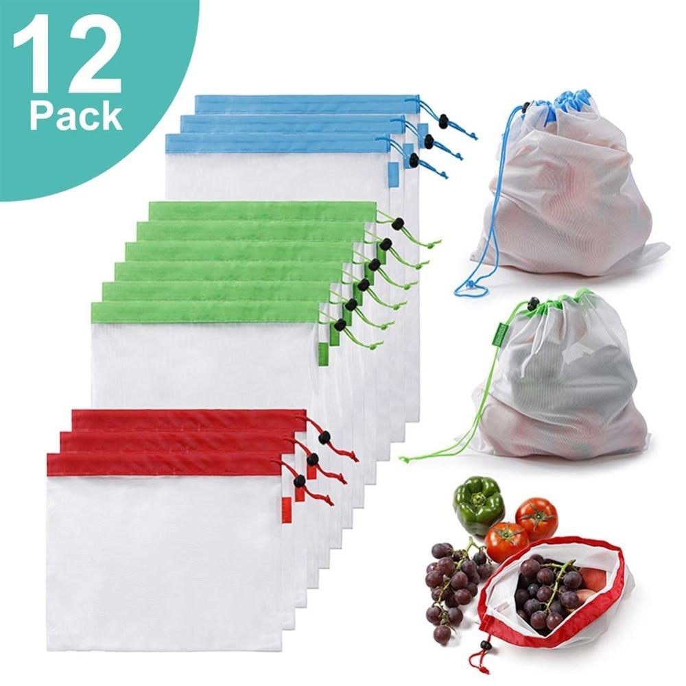 12pcs/Lot Reusable Produce Bags Eco Friendly Fruit Vegetable Mesh Bag Grocery Market Bag Kitchen Organizers Kids Toy Storage Bag