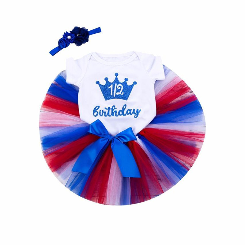 3Pcs Infant Baby Girls Birthday Letter Crown Tutu Skirts Jumpsuit Headband Set baby girl clothes conjunto infantil menina