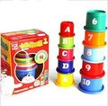 Candice guo! Hot sale educational plastic toy colorful piling cup blocks digital alphabet baby toys 1set