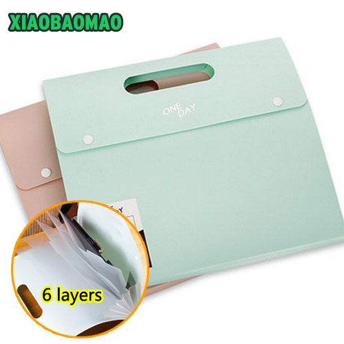 Korea Color Series File Folder 6 Index Layers Document Study Working Expanding Wallet Organizer Bag Handle Expanding Wallet simple plastic 5 section index band folder document file storage organizer filling stationery a4 size expanding wallet 4 colors