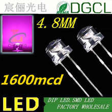 PINK 5mm LED wide angle Festive Lighting 4.8MM Straw hat shape color led diode 3.0-3.5V 1000PCS Free shipping(China)