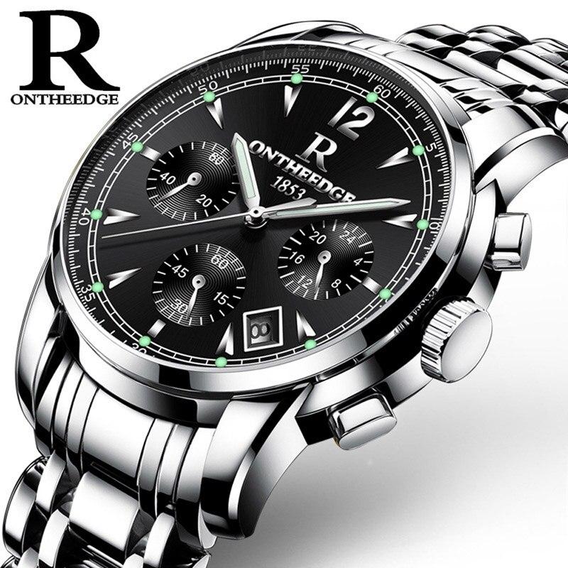 30dcc0c4f09 ONTHEEDGE Homens Cronógrafo de Quartzo Relógio de Aço Inoxidável À Prova D   Água Negócio Relógio de Pulso Masculino Relógio Relogio masculino Ouro  Negro em ...