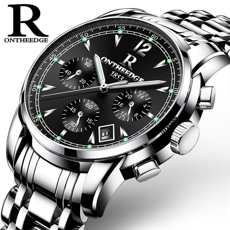 ONTHEEDGE Men Quartz Watch Stainless Steel Waterproof Chronograph Wristwatch Business Male Gold Black Clock Relogio Masculino crrju men black stainless steel band luxury quartz clock male classic business calendar waterproof wrist watch relogio masculino