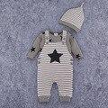De Manga larga de La Muchacha de Los Mamelucos y Sombrero Trajes de Bebé Mameluco Recién Nacido Del Bebé Mamelucos Del Bebé bebé de Algodón bebé Mono de La Ropa de Moda