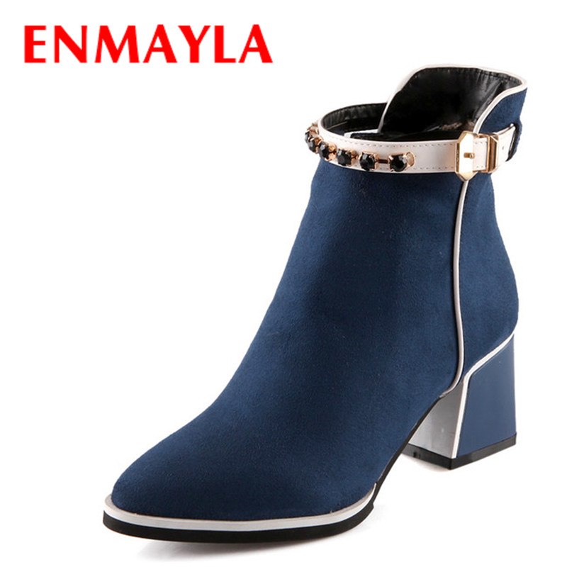 Flock Pointed Toe High Boots New Square heel Black blue red warm winter boots women new Platform