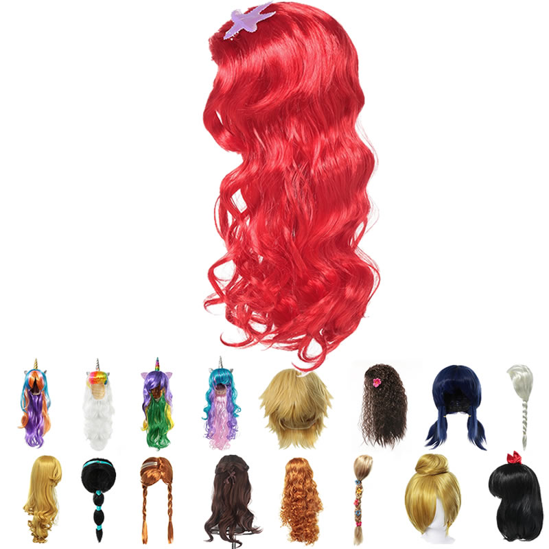 Girls Little Mermaid Red Wig Kids Princess Elsa Anna Aurora Cosplay Rapunzel Braid Jasmine Moana Unicorn Hair For Party