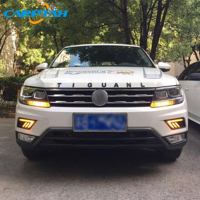 LED feux de jour pour Volkswagen Tiguan 2017 2018 2019 étanche 12V jaune clignotant indicateur lumière pare-chocs LED DRL