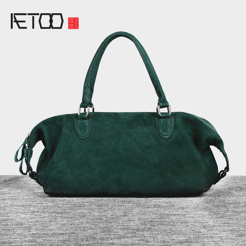 AETOO  Europe and the United States retro leisure handbags leather dumplings package women shoulder diagonal cross head layer of aetoo europe and the united states trend of the first layer of planted tanned leather men handbags hand ladies shoulder diagonal