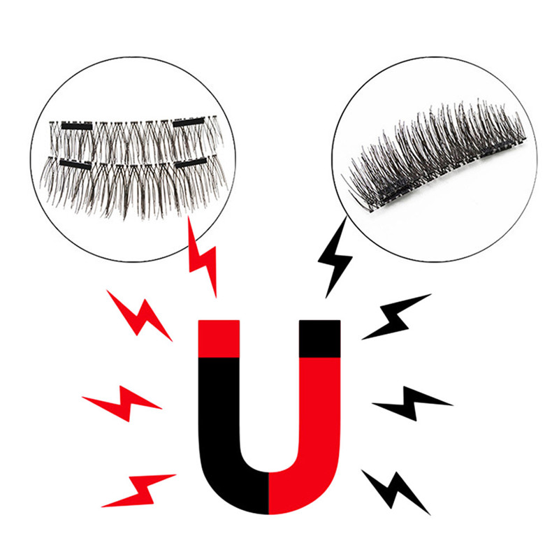 Natrual Newest 4pcs Magnet False Eyelashes Hypoallergenic Soft 3D Natural Vivid Eyelashes Magnetic Eyelashes Makeup Beauty