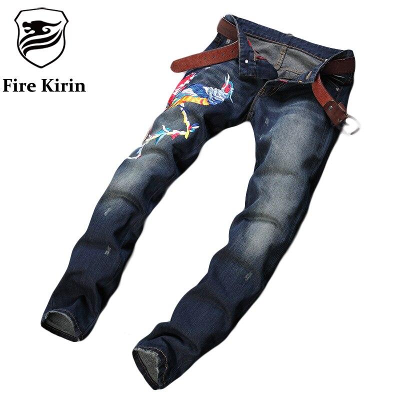 Fire Kirin Phoenix Embroidered Jeans Men 2017 Designer Men Jeans Famous Brand Slim Fit Mens Printed Jeans Biker Denim Pants P12 phoenix phoenix p 4607 1