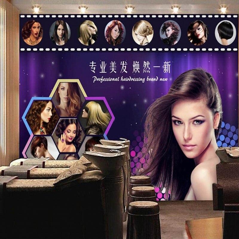 Custom photo wallpaper Purple beauty Hairdressing Barber shop wall wallpaper bar KTV shopping mall wallpaper mural