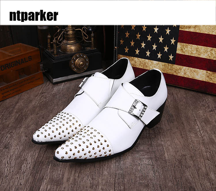 ntparker Handmade Fashion Man Shoes Leather Classic wedding man shoes White Business/Wedding Leather Shoe for Man, EU38-46! ntparker wine red high heels men dress shoes leather fashion business leather shoes handmade wedding shoes for men 38 46 big
