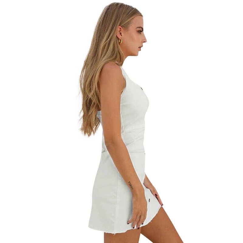 Для женщин Холтер бинты платье из джинсовой ткани без рукавов с открытой спиной и пуговицы с открытыми плечами Туника вечерние платье дамы 2019 летнее пикантное облегающее платье