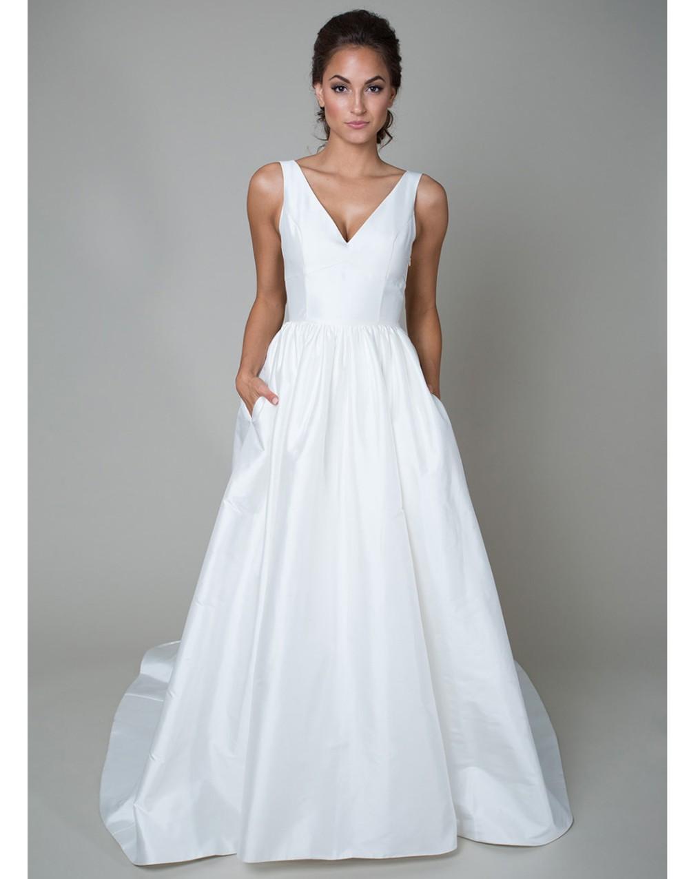 Vintage long white summer boho beach wedding dress with pockets 2015 v neck see through bridal gowns vestidos de noiva UD-442 1