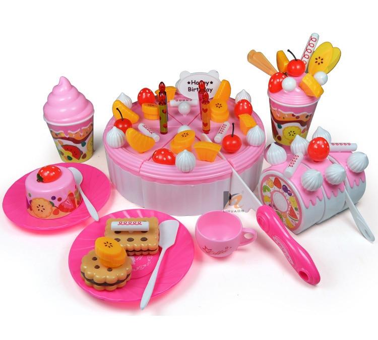 73 pz bambini cucina giocattolo set torta di compleanno giocattoli pretend gioca giochi di plastica taglio