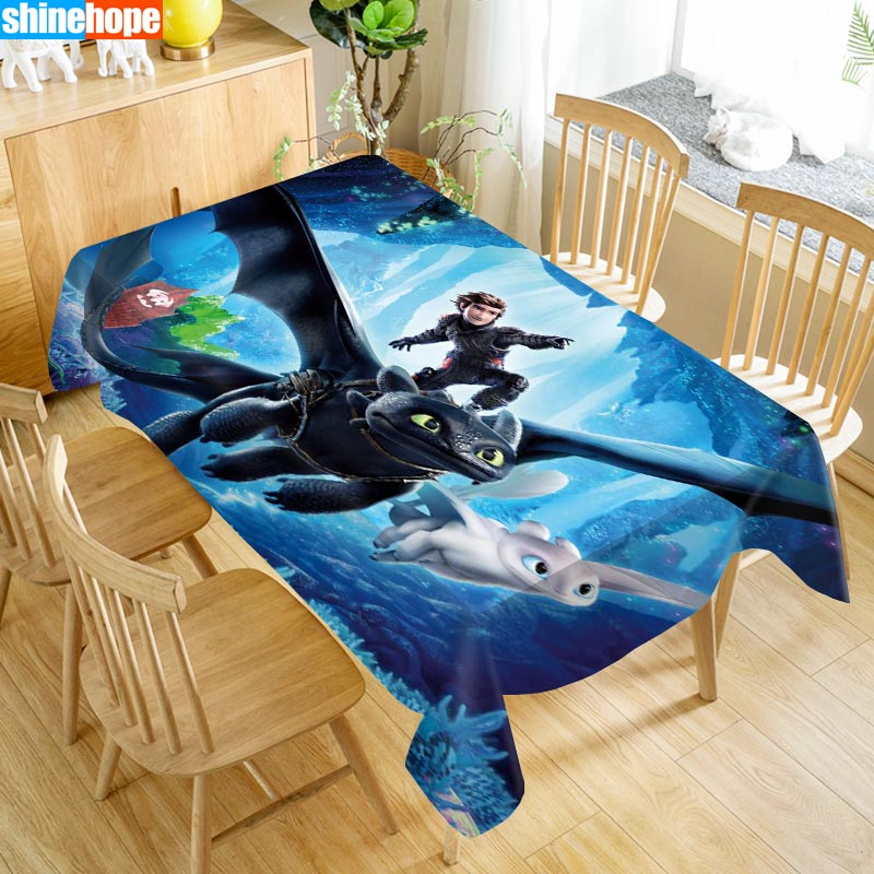 How To Train Your Dragon Table Cloth Oxford Print Waterproof Oilproof Home Rectangular Party Table Cover 100X140cm/140X250cm