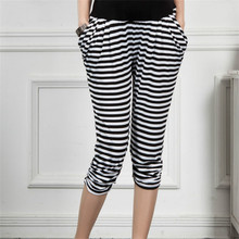 Maternity Pants adicolo striped trousers for pregnant woman Haren women abdominal adjustable /Seven points pants