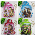 12Pcs Masha & Bear Children Backpacks Cartoon Drawstring Backpack School Bag Non-woven Fabric Bag Shopping Beach Bag Party Gift