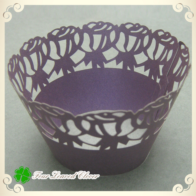 wedding cake supplies wholesale free shipping 100pcs lot purple laser cut cupcake 8779