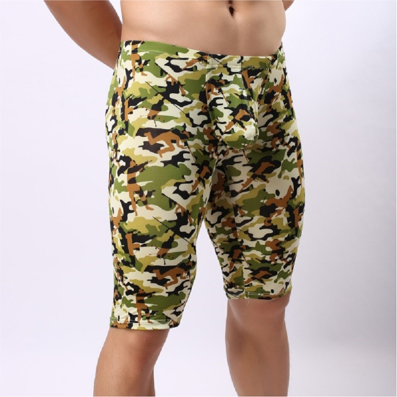 Men's Sea Land Air Fashion Camouflage Casual Middle-Pants Indoor Fitness Morning Jog Middle-Pants U Convex Pouch Sleep Bottoms