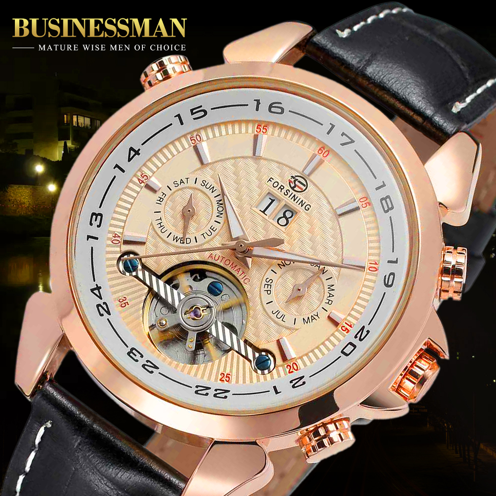FORSINING Mens Automatic Tourbillon Crystal Dial Complete Calendar Watch with Genuine Leather FSG057M3R4 with Gift BoxFORSINING Mens Automatic Tourbillon Crystal Dial Complete Calendar Watch with Genuine Leather FSG057M3R4 with Gift Box
