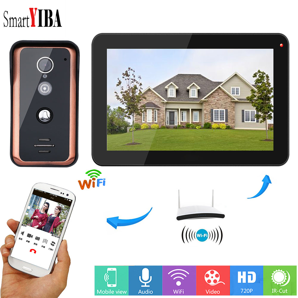 SmartYIBA 9 inch Wired WiFi LCD Monitor 1000TVL Video Doorbell Unlock Intercom System IOS/Android App Remote Support 64G TF Card smartyiba 7wifi app fingerprint wireless wired home intercom rfid unlock video access control doorbell doorphone system 1000tvl
