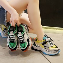 2019 Summer New Mixed Colors Wedge Platform Sneakers Lace-up Chunky Sneakers Harajuku Casual Dad Shoes Comfortable Sports Shoes цена