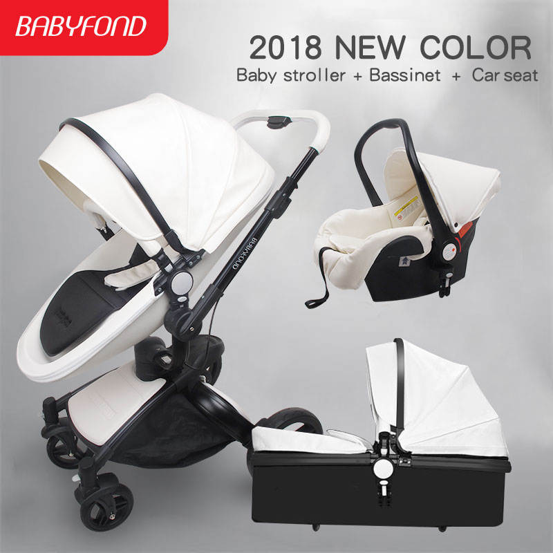 2018 hot sell baby strollers 3 in 1 baby stroller leather newborn baby pram gold black basis Free Ship USA free gifts car