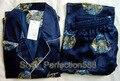 2013 Новый Синий Китайских людей Silk Район 2 шт. Ночное Одеяние пижамы пижамы Наборы Ванна Платье Sml XL XXL XXXL SH016