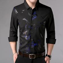 Plus Size L-4XL Business Casual Shirt Male Long sleeve Printed Mens Shirts Blouse Clothing Slim fit New Arrival