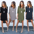 Женщины платье 2016 горячей моды случайные платье осень женская одежда Свободные V-образным Вырезом платья