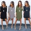 As mulheres se vestem 2016 hot moda casual vestido outono mulheres roupas Soltas vestido Com Decote Em V
