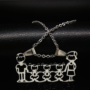 Unisex Family Necklace Jewelry Necklaces Women Jewelry Metal Color: 3 girl